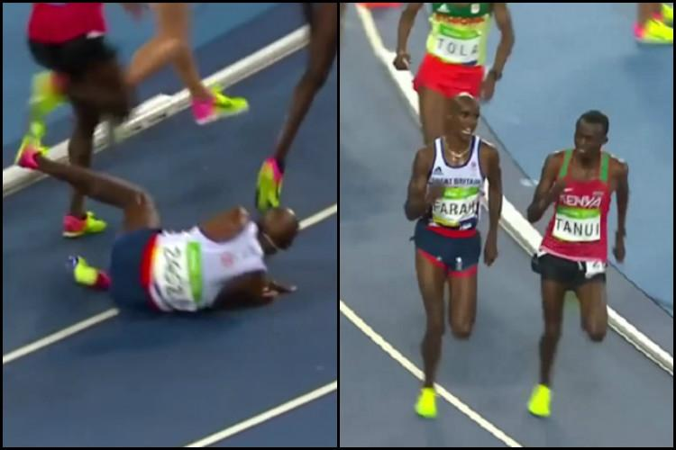 Watch Britains Mo Farah falls on track during 10000m gets back up and takes the gold