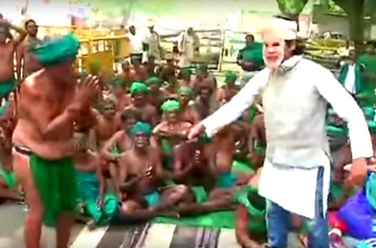 TN farmers beg for help as man in Modi mask whips them Day 37 of agitation