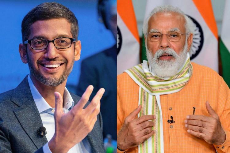 A collage of Google CEO Sundar Pichai and Prime Minister Narendra Modi