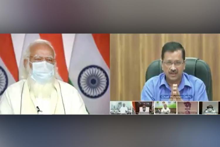 Screenshot of Modi and Kejriwal virtual meeting