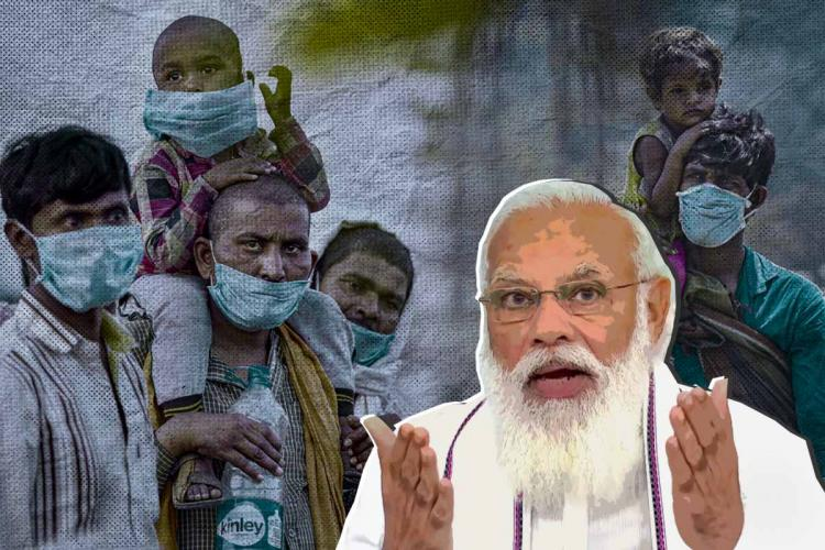 A stylised image of Prime Minister Narendra Modi in the foreground, and migrant workers who walked home during the first nationwide lockdown in India in 2020 in the background.