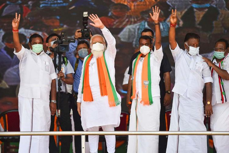 Prime Minister Narendra Modi along with alliance partners and BJP members at Tiruppur