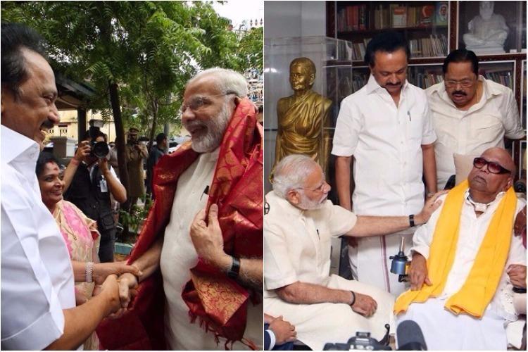 Smiles all around as PM Modi pays a visit to DMKs M Karunanidhi