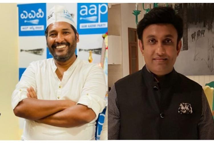 Collage of photos of Mohan Dasari and Dr K Sudhakar