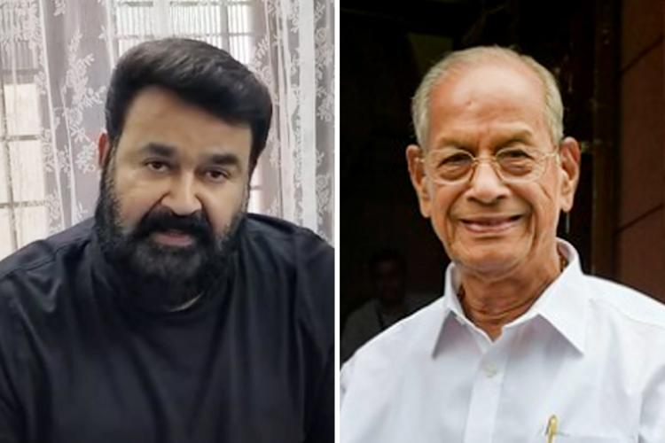 Collage of Mohanlal in a grey t-shirt and E Sreedharan in a white shirt