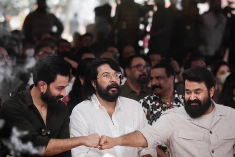 Photos of Mammootty Mohanlal and Prithviraj from Barroz launch go viral