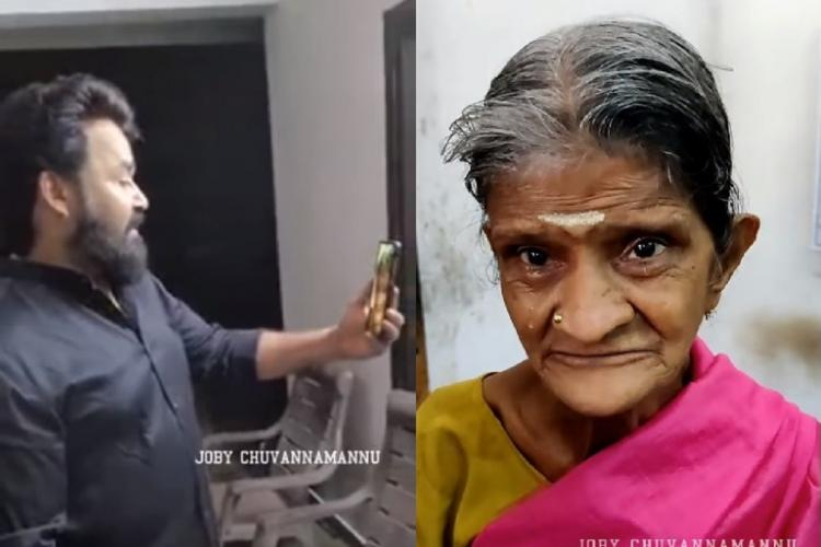 Collage of Mohanlal in side view wearing black shirt, beard, holding a phone and looking at it, and Rukmini in pink Sari and yellow blouse, crying