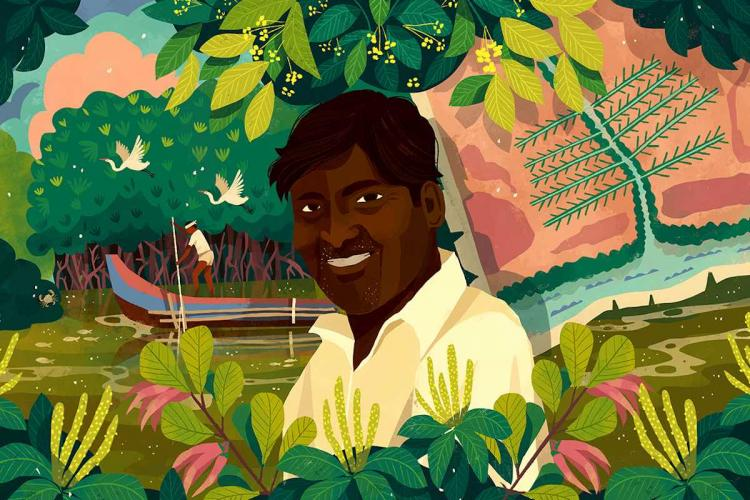 Over the past 20 years 54-year-old Sankar along with Muthupets coastal community and forest department has dug canals to enable freshwater flow into the mangroves and planted mangrove saplings Illustration by Chaaya Prabhat