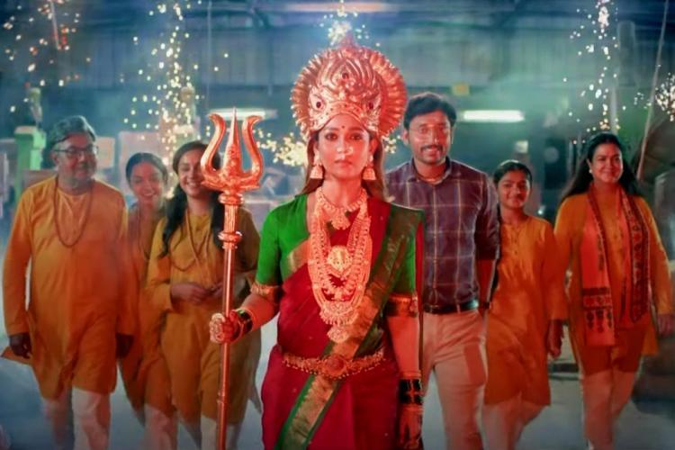 Nayanthara as Mookuthi Amman leading a family of actors including RJ Balaji Urvashi and Moulee