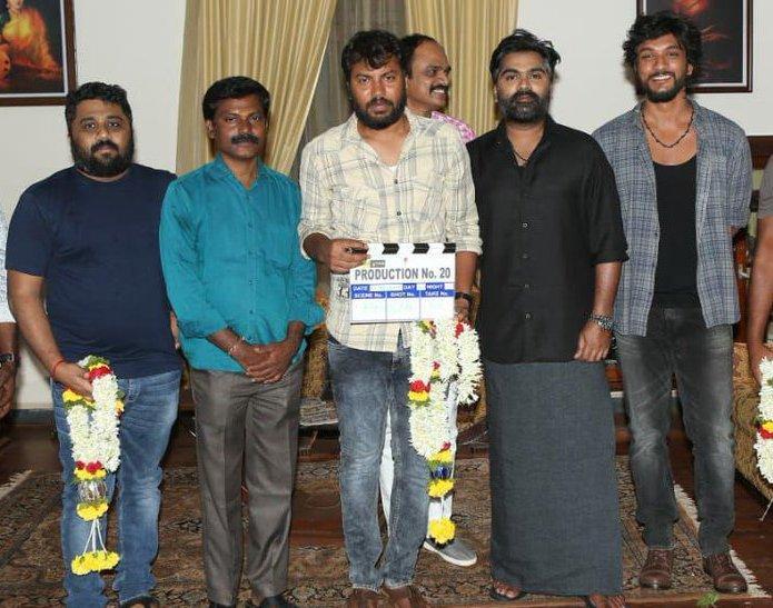 Mufti Tamil remake team during puja with actors simbu and gautham karthik