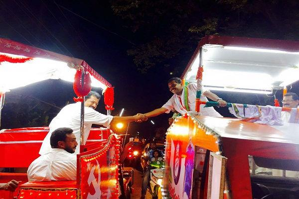 LDF candidate Mukesh shakes hands with opponent troll hell breaks loose