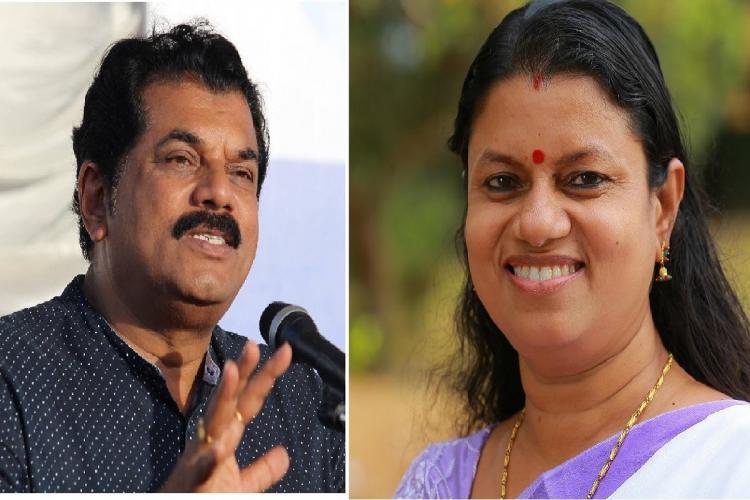 Collage of Kollam Assembly poll candidates LDFs M Mukesh and UDFs Bindu Krishna
