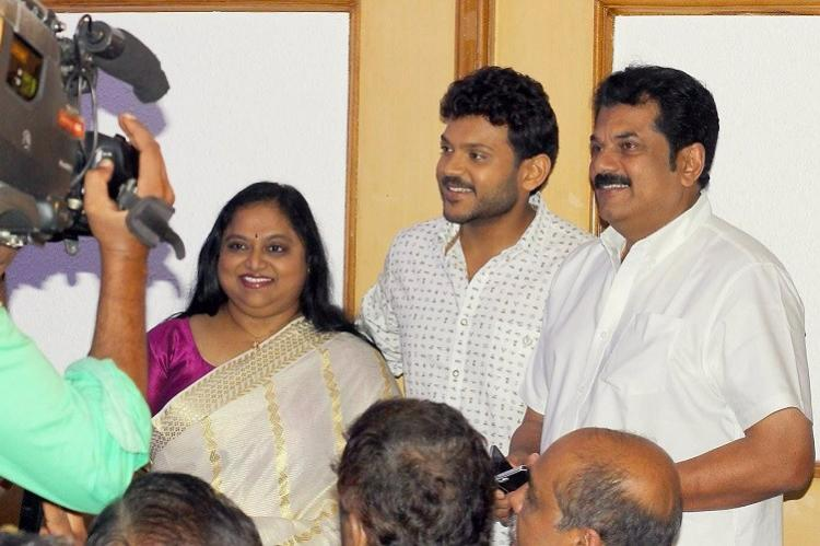 Mukesh and Saritha come together on stage for sons debut film