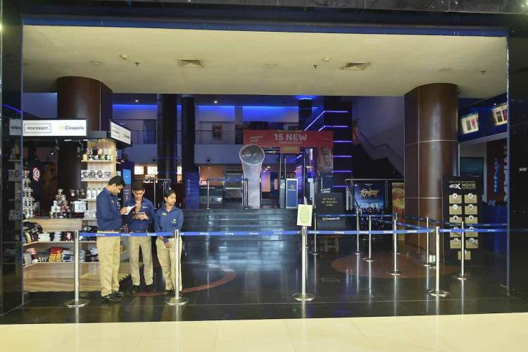 A view of a closed multiplex at a mall in view of novel coronavirus pandemic in Thane The state government has ordered closure of cinema theatres gymnasiums swimming pools and public parks in cities of Mumbai Thane Navi Mumbai Nagpur Pune and Pimpri-Chinchwad till March 30