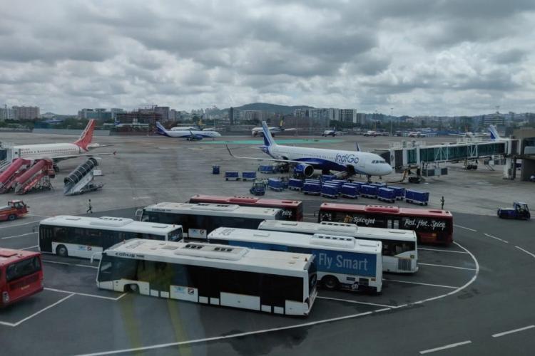 Flights lining up near the aerobridge at the Chhatrapati Shivaji International airport in Mumbai
