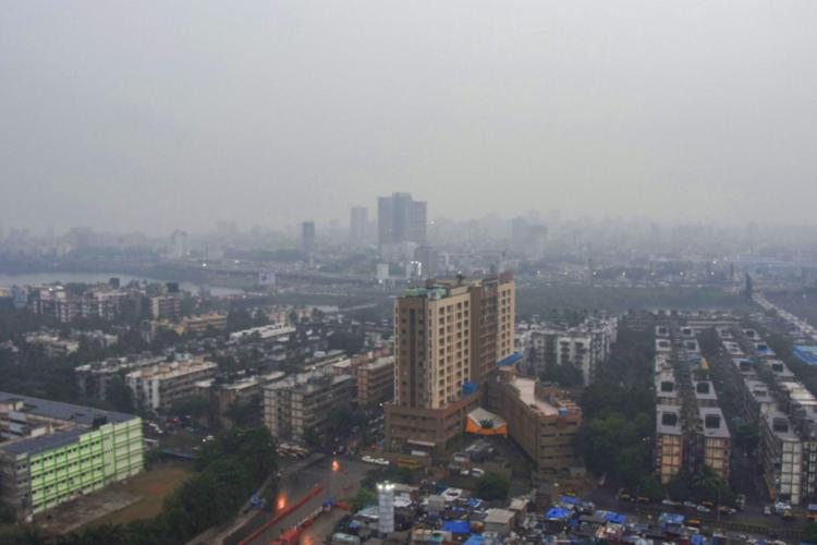 An aerial view of the Mumbai skyline