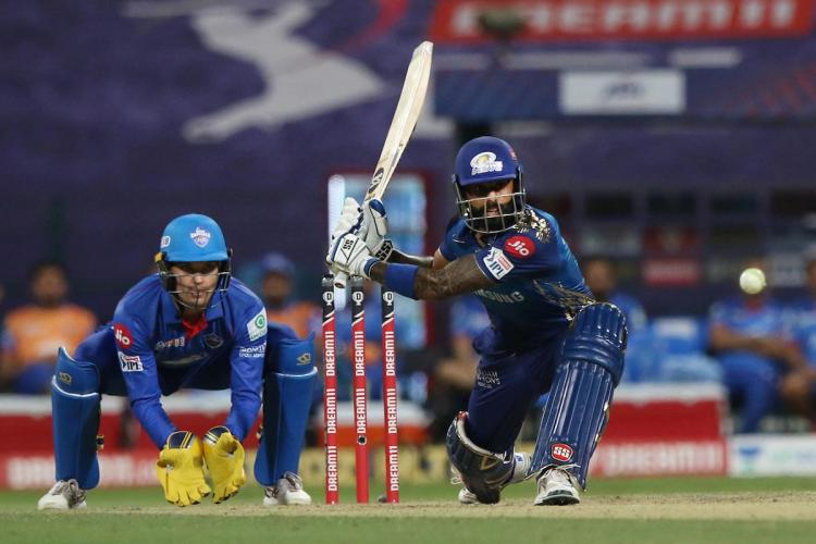 Mumbai Indians Suryakumar Yadav hits a shot during the IPL match against Delhi Capitals in Abu Dhabi on Sunday