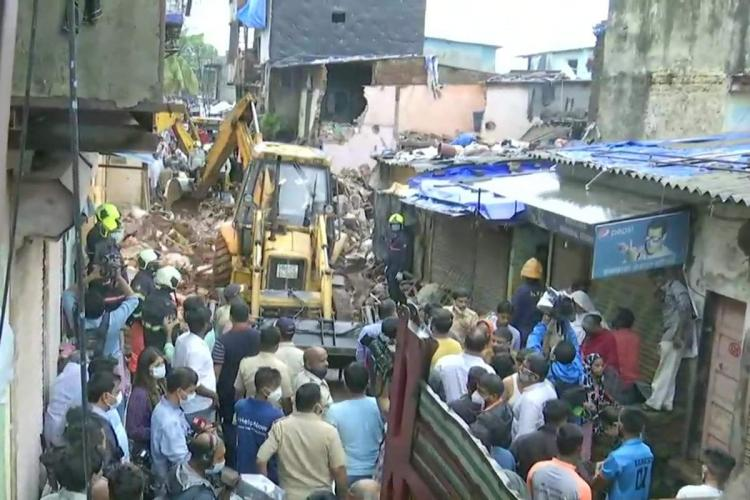 A residential building collapsed in the New Collector compound Malad West of Mumbai