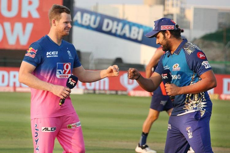 Rajasthan Royals captain Steve Smith and Mumbai Indians Captain Rohit Sharma seen fist-bumping at the cricket ground
