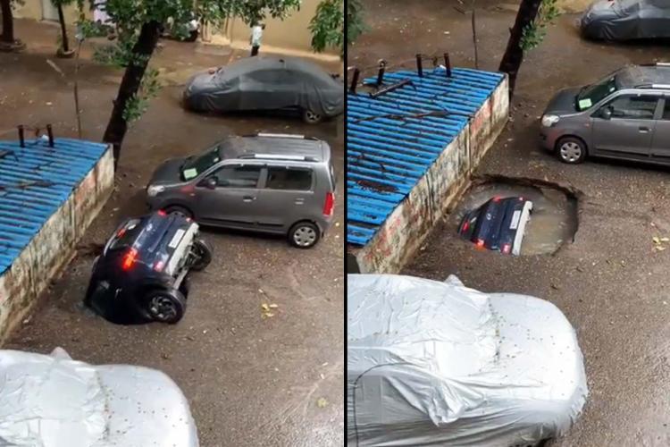 Mumbai rains: Scary visuals of a car sinking into a reclaimed well at Ghatkopar in Mumbai