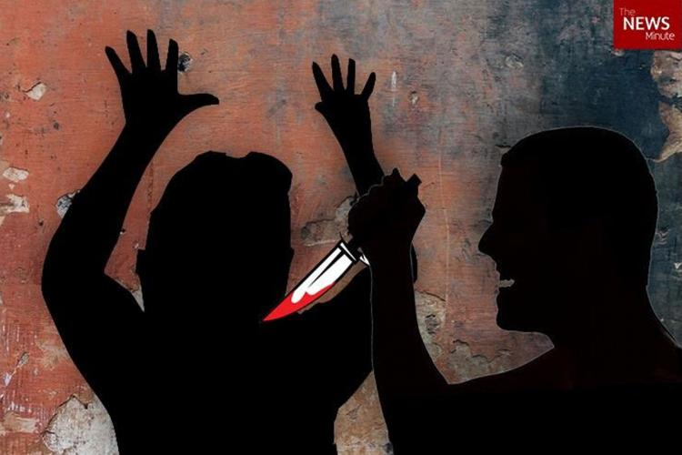 Silhouette of a man attacking a woman with a knife