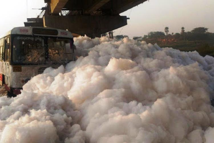 Not just Bengaluru lakes Watch toxic froth from Hyderabads Musi river almost engulf a bus