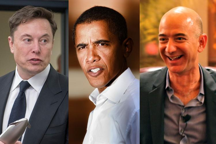 A collage image of Elon Musk Barack Obama and Jeff Bezos whose Twitter accounts were hacked in a Bitcoin scam