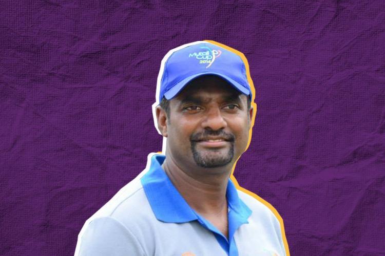 Cricketer Muthiah Muralidaran in a blue t-shirt and cap