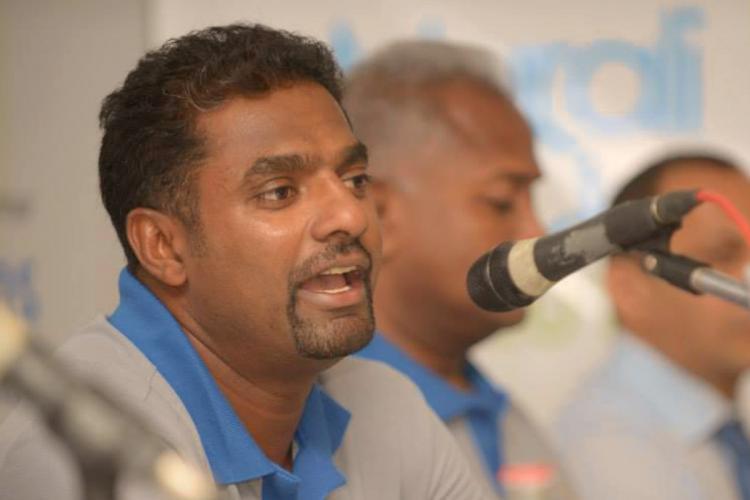 Muthiah Muralidaran at a press conference