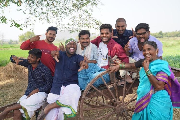 Members of Telugu YouTube channel My Village Show