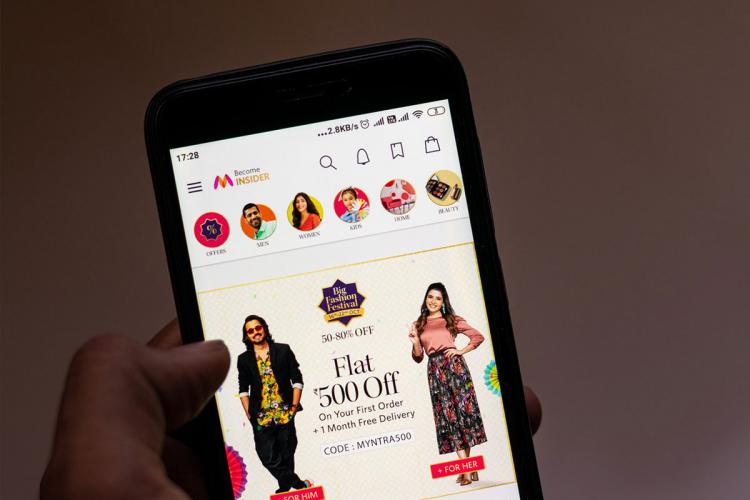 A user shopping on Myntra app during sale