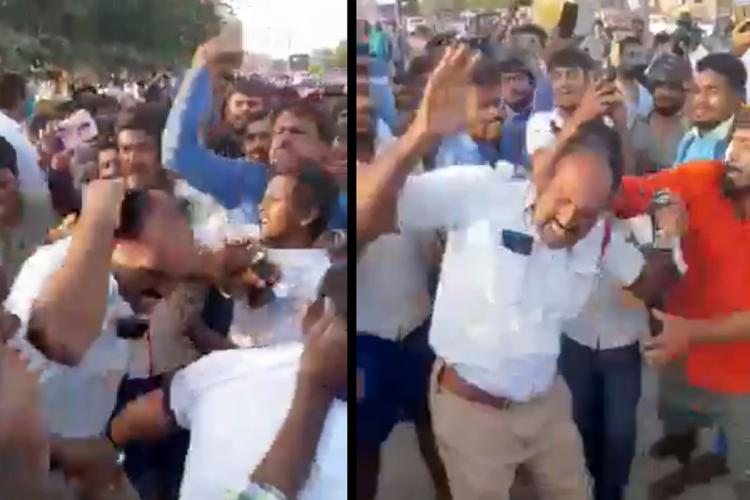 Collage of a mob of people hitting a policeman wearing a white shirt and khaki pants