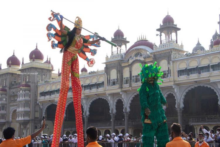 Mysuru Dasara celebration shows goddess Chamundeshwari slaying coronavirus