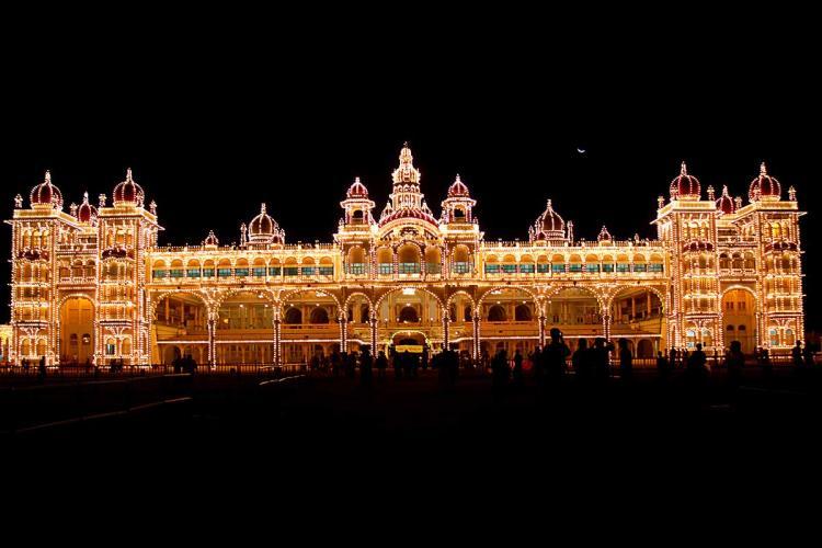 The Mysuru Palace lit up at night