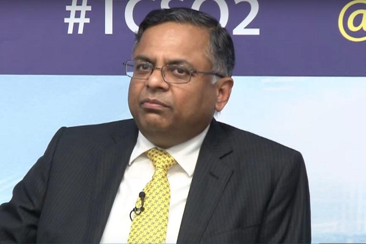 Tata Sons Chairman N Chandrasekaran at a press conference of TCS back when he was the CEO of TCS