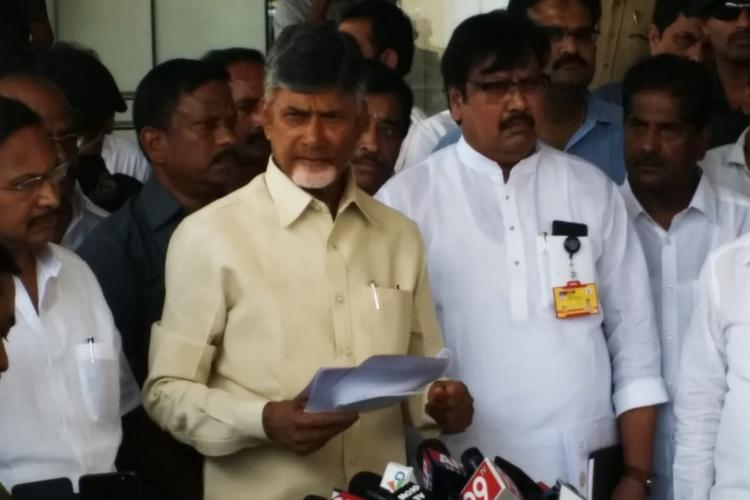 EC acting in connivance with BJP and YSRCP AP CM protests I-T raids on TDP MPs