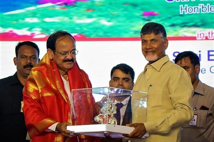 Venkaiah Naidu lays foundation stone for waterway on Krishna river six highways in Andhra
