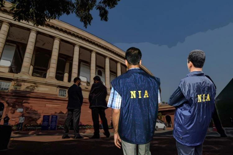 Representative image of NIA officials with the Indian Parliament in the background