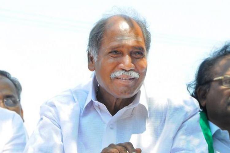 AINRC chief N Rangasamy wearing a white shirt