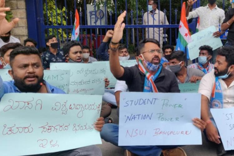 NSUI stages protest outside Christ University against online examinations