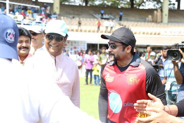 Superstar Rajnikanth at Nadigar Sangam Cricket Tournament