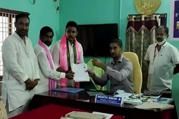 TRS candidate Bhagath submitting his nominations