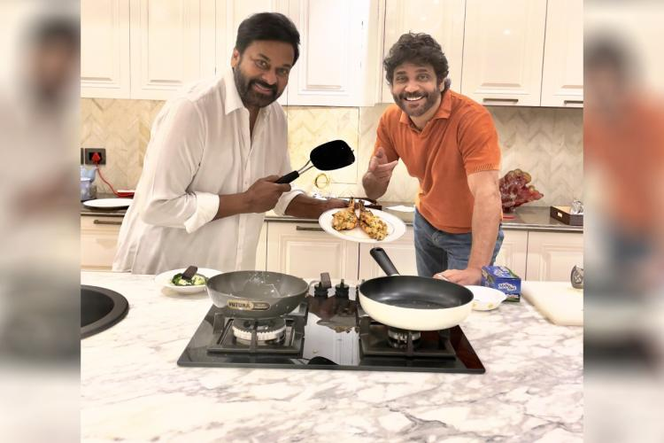 Chiranjeevi is seen holding a spatula in his hand and the chicken he cooked in the photo while Nagarjuna can be seen pointing towards the scrumptious dish