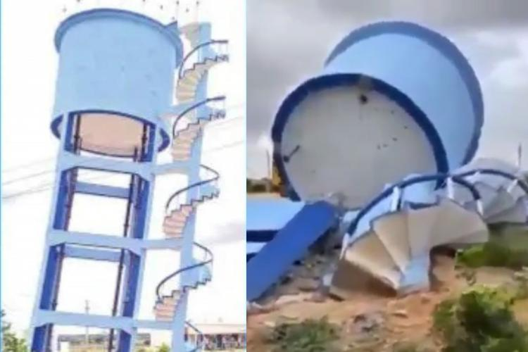 Telangana officials demolish overhead water tanker that was found tilting