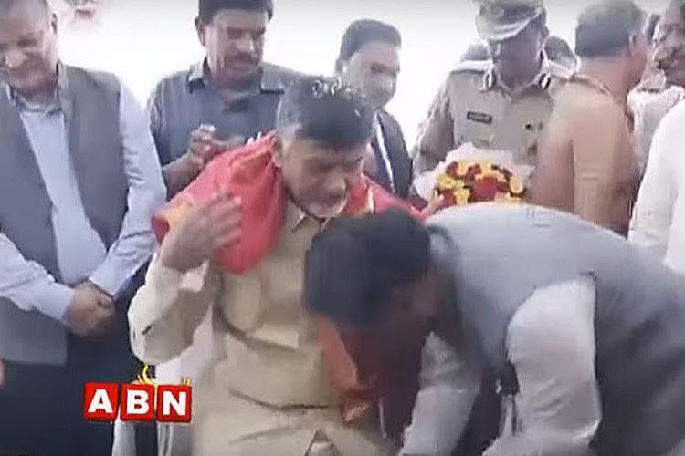 Not just Jayalalithaa Andhra CM Naidu has ministers and MLAs falling at his feet too