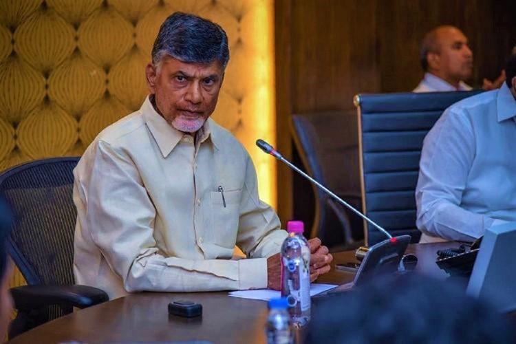 Chandrababu Naidu addresses a press meet