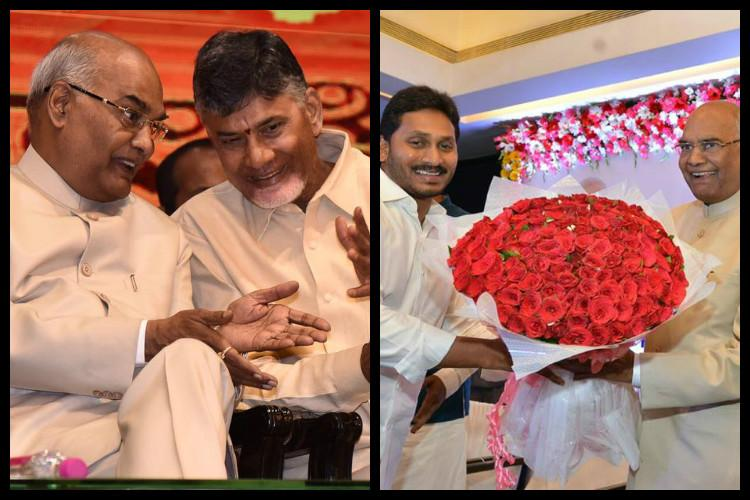 YSRCP and TDP compete to woo NDA Presidential candidate Kovind as he lands in Hyderabad