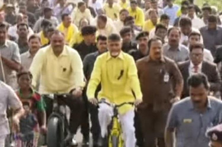 Tour de Amaravati Naidu goes cycling demanding special status for AP