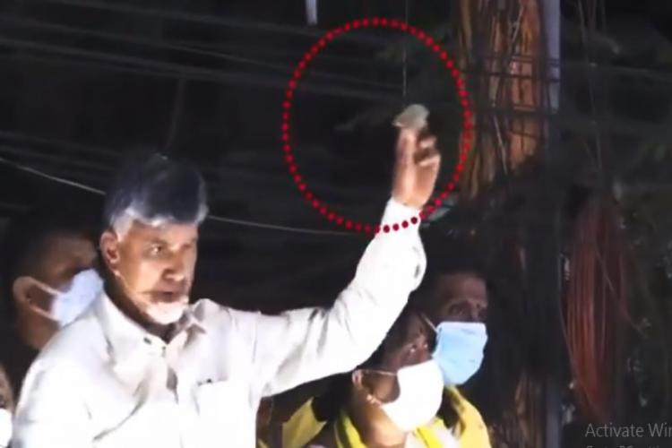TDP president Naidu showing the stone that was allegedly thrown at the road show in Tirupati