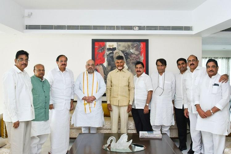 Amit Shah meets Andhra CM Naidu discusses TDP-BJP alliance and presidential poll